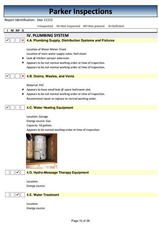 Plumbing report page 1