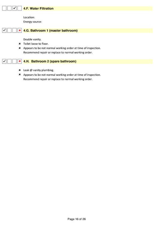 Plumbing inspection report page 2